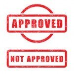 stamp approved and not approved with red text isolated on white
