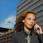 Businesswoman Outdoors on Cell Phone